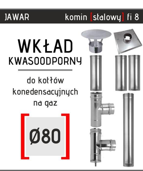 Stalowy wkład kominowy inaczej komin jednościenny Jawar o średnicy 80 do gazu