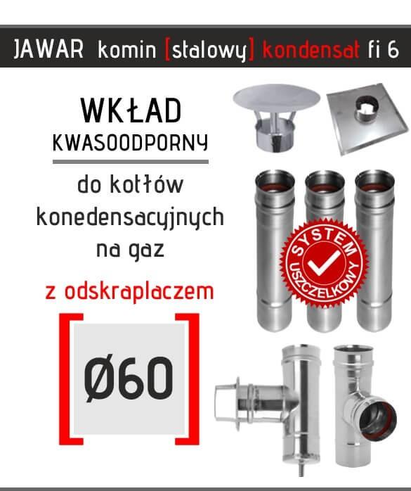 Kwasoodporny wkład kominowy kondensacyjny Jawar z trójnikiem i odskraplaczem fi 60