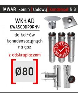 Jawar kondensacyjny komin o średnicy 80 mm z trójnikiem wyczystką i odskraplaczem