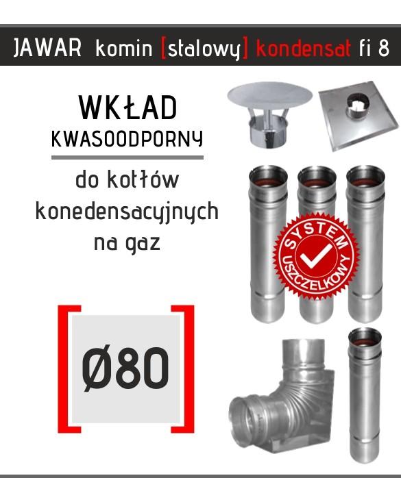 Stalowy wkład kominowy marki Jawar kondensacyjny fi 80 mm