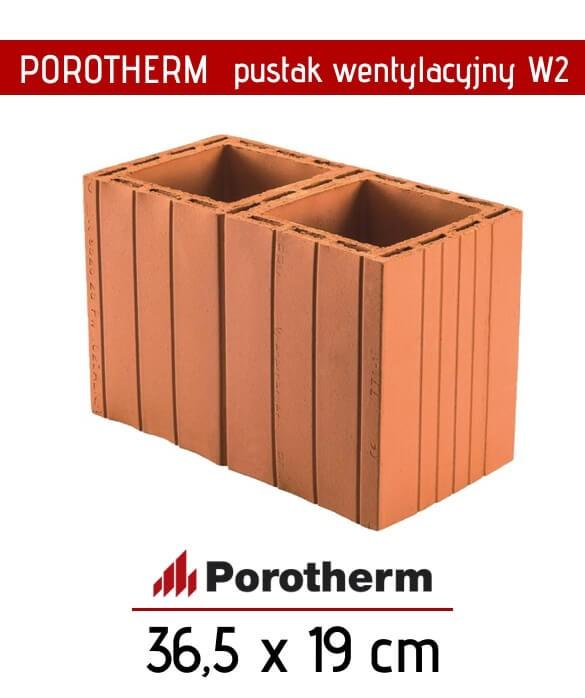 Pustak wentylacyjny podwójny Porotherm ceramika 36,5 x 19 cm