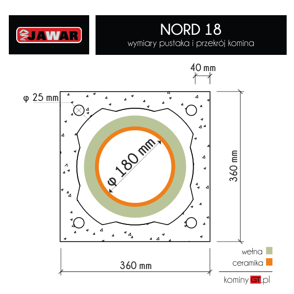 Komin ceramiczny Nord 180 mm - wymiary pustaków