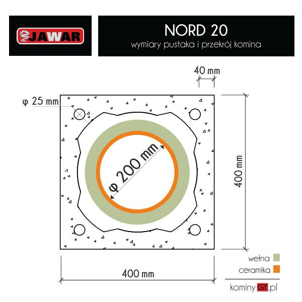 Komin ceramiczny Jawar Nord 200 mm - wymiary i przekrój