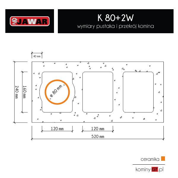 Jawar K 80 mm 2x wentylacja wymiary i przekrój