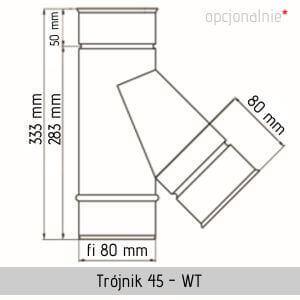 Trójnik kwasoodporny stalowy Jawar fi 80 WT