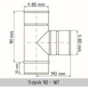 stalowy trójnik kwasoodporny jawar fi 80