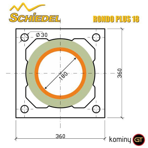 wymiary pustaka kominowego Rondo Plus 18 Schiedel