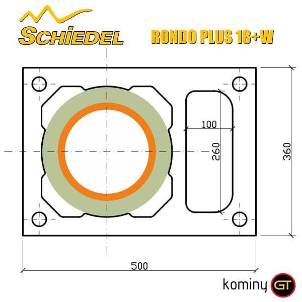 Przekrój i wymiary komina Schiedel Rondo Plus 18+W