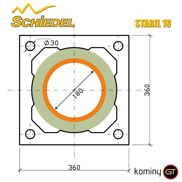 Wymiary komina ceramicznego Schiedel Stabil 18