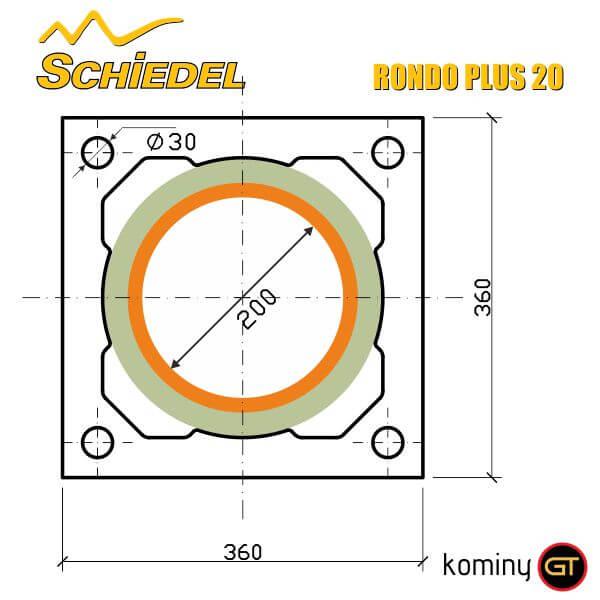 Wymiary pustaka kominowego Rondo Plus 20