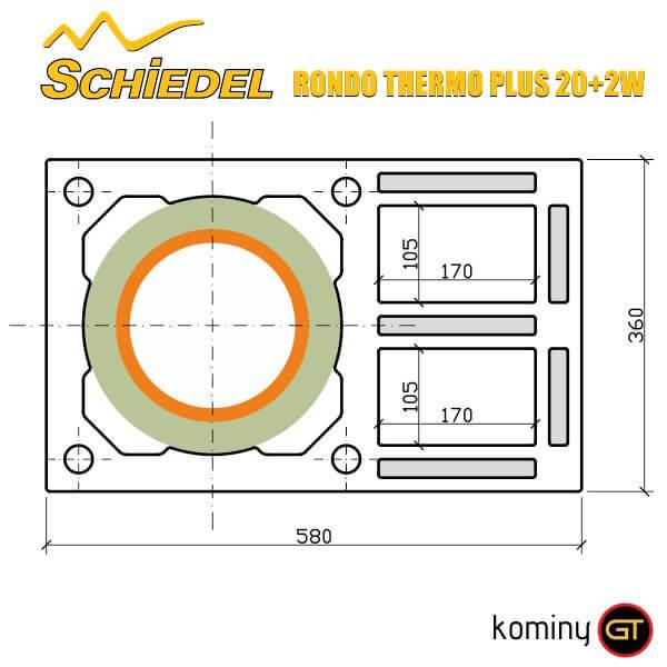 Wymiary komina Schiedel Rondo Thermo Plus 20+2W