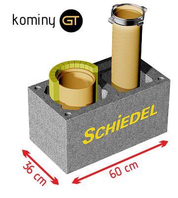 Wymiary komina ceramicznego wielofunkcyjnego Schiedel  Dual 12+18